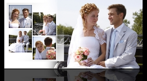 Разворот свадебной фотокниги Антона и Натальи